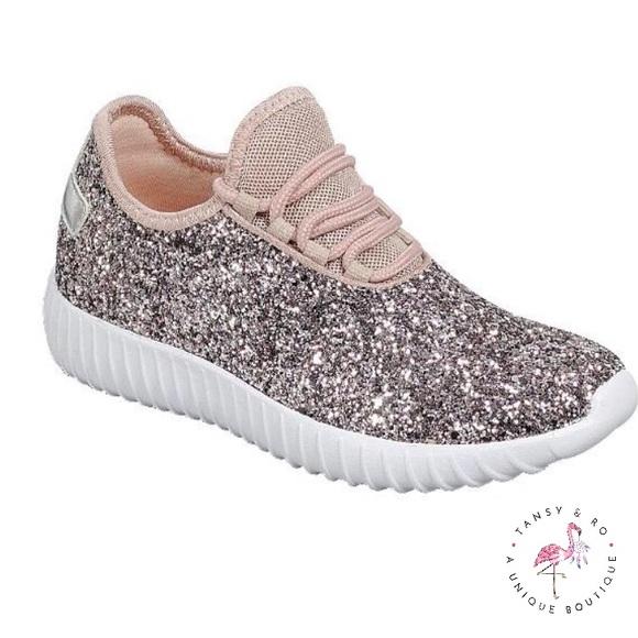 Girls Glitter Tennis Shoes Rose Gold